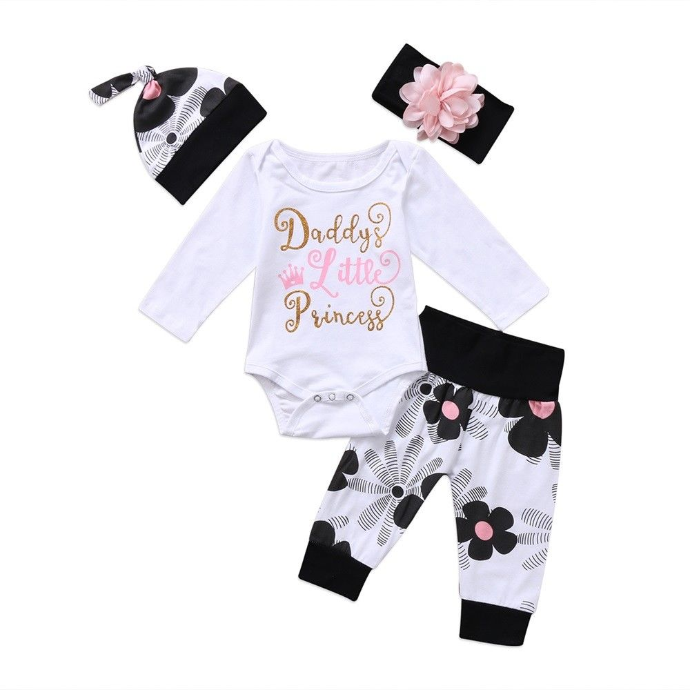 US Newborn Baby Girls Cotton Romper Bodysuit Jumpsuit Flower Pants Hat Headband