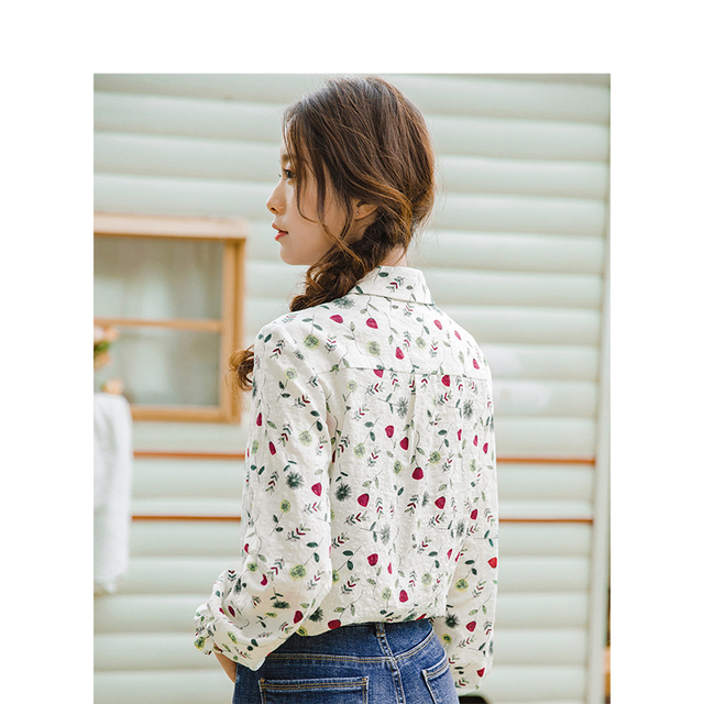 INMAN 2019 Spring New Arrival Turn Down Collar Literary Retro Floral Pastoral Holiday Style Casual All Matched Women Shirt 1