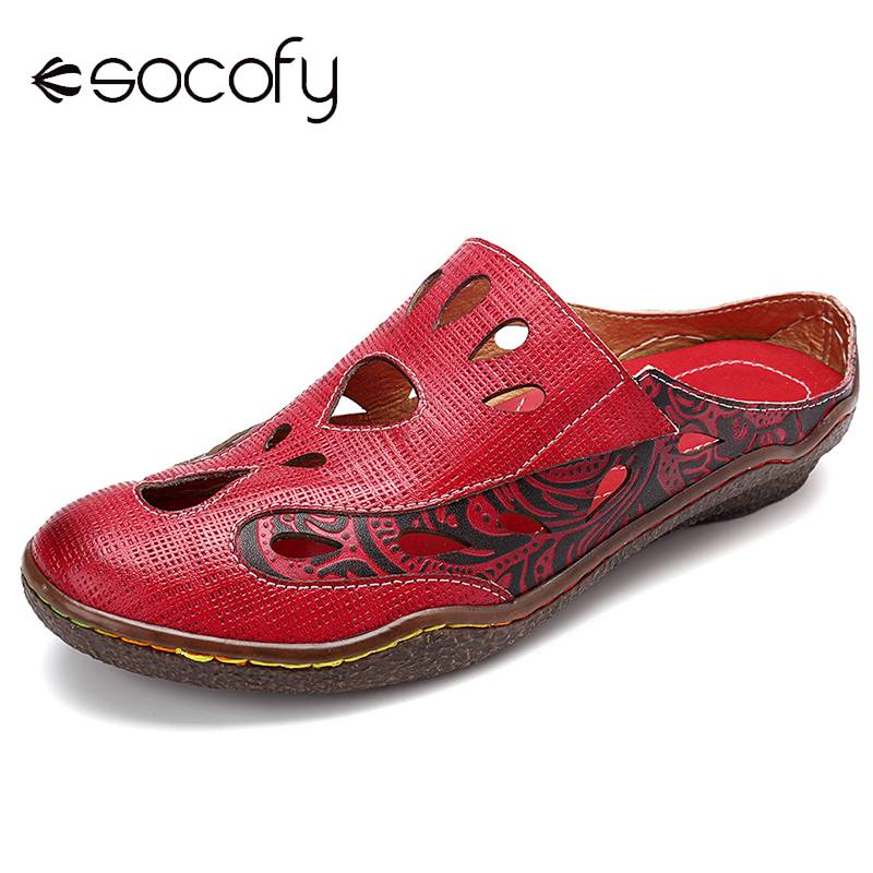 SOCOFY Comfy Genuine Leather Water Drops Pattern Hollow Stitching Slip On Sandals Elegant Ladies Shoes 2019 Spring Casual Shoes-in Women's Flats from Shoes    1