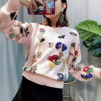 2020 Winter Luxury Pink Knited Sweater Pullovers Women Runway Designer Floral Embroidery Ladies Christmas Jumper Clothing