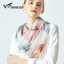[VIANOSI] Print silk scarf for ladies summer beach stoles large size shawls fashion Women's Scarves luxury hijabs