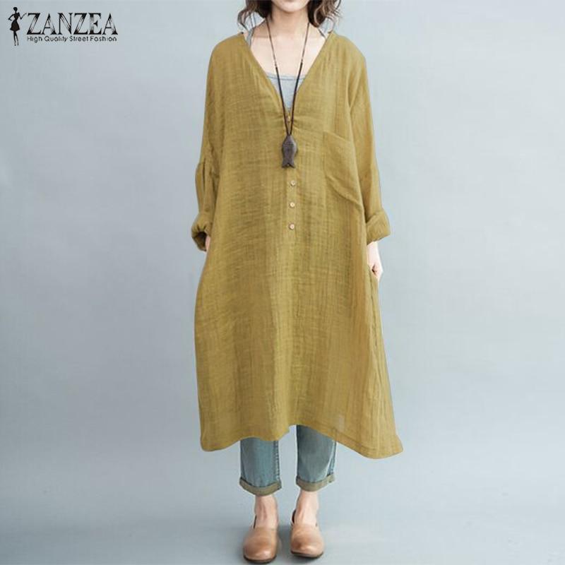 2019 Oversized ZANZEA Spring Vintage Loose Kaftan Women Casual Solid V Neck Long Sleeve Vestido Baggy Long Shirt Dress Tops