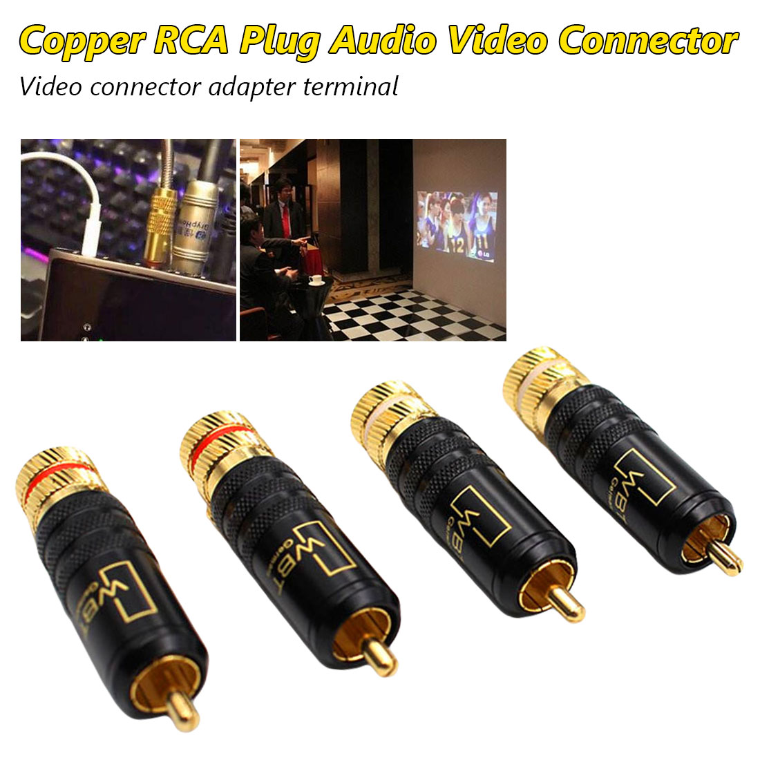 Gold Plated Copper RCA Plug Durable WBT Connector Screws Soldering Locking Audio Video Plug Red+White