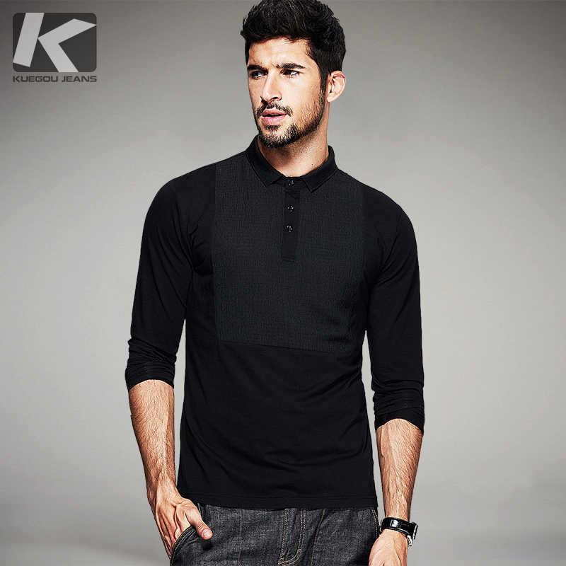 fc4672b3750e KUEGOU Autumn Mens Fashion Polo Shirts Black Patchwork Famous Brand  Clothing For Man's Long Sleeve Slim