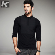 KUEGOU Autumn Mens Fashion Polo Shirts Black Patchwork Famous Brand Clothing For Man's Long Sleeve Slim Fit Clothes Tops 1691