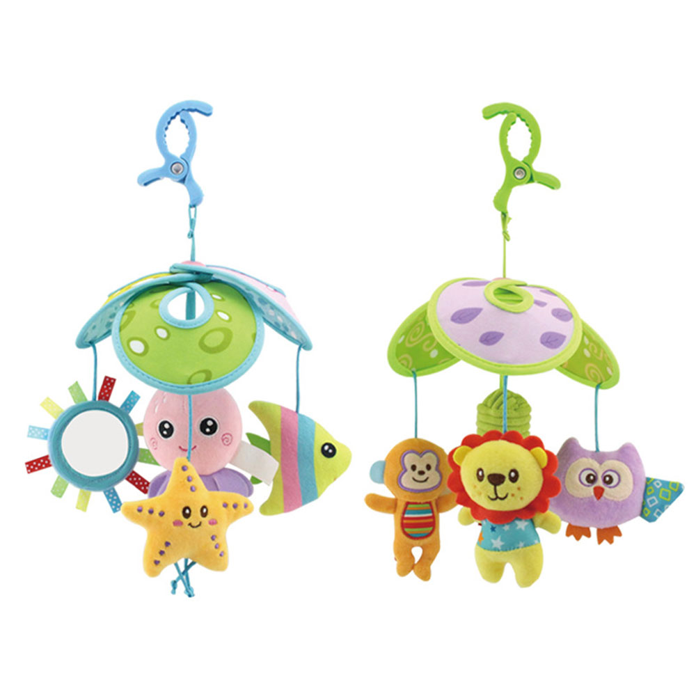 Baby Crib Mobile Toys Infant Rattle Hanging Rotating Soft Nursery Bell Activity Play Toys For 0-6 Month Boys Girls Sea Animal