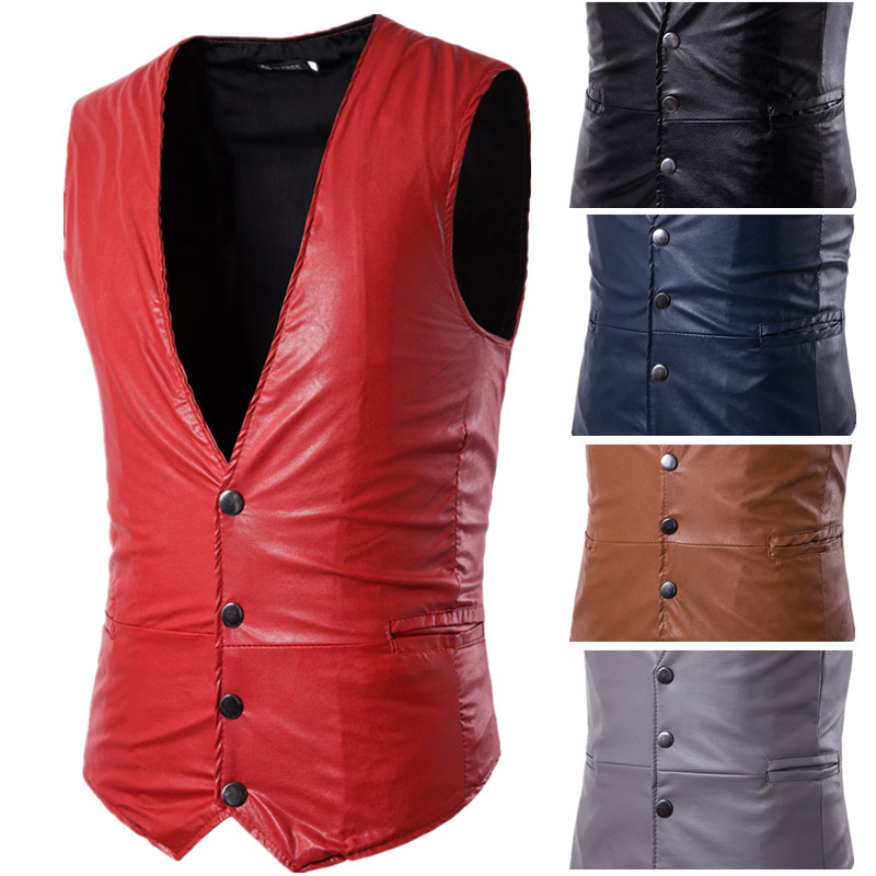 2019 New Suit Red Vest Waistcoat Men Men's Self-cultivation Pu Material Black Gilet Free Shipping