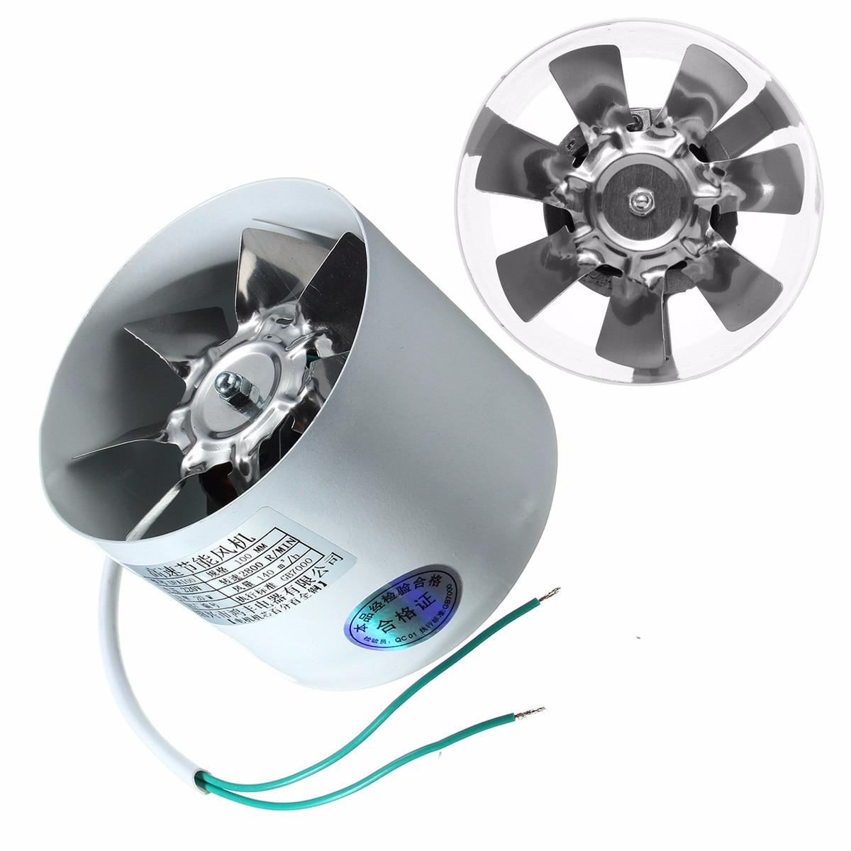 2800R/Min Conducto de ventilador de Metal 220 V 20 W 4 pulgadas en línea conductos ventilador de escape conducto de ventilación accesorios para ventiladores 10x10x7,5 cm