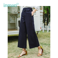 INMAN 2019 Summer New Arrival High Waist Retro Hongkong Style With Belt All Matched Slim Women Loose Pants