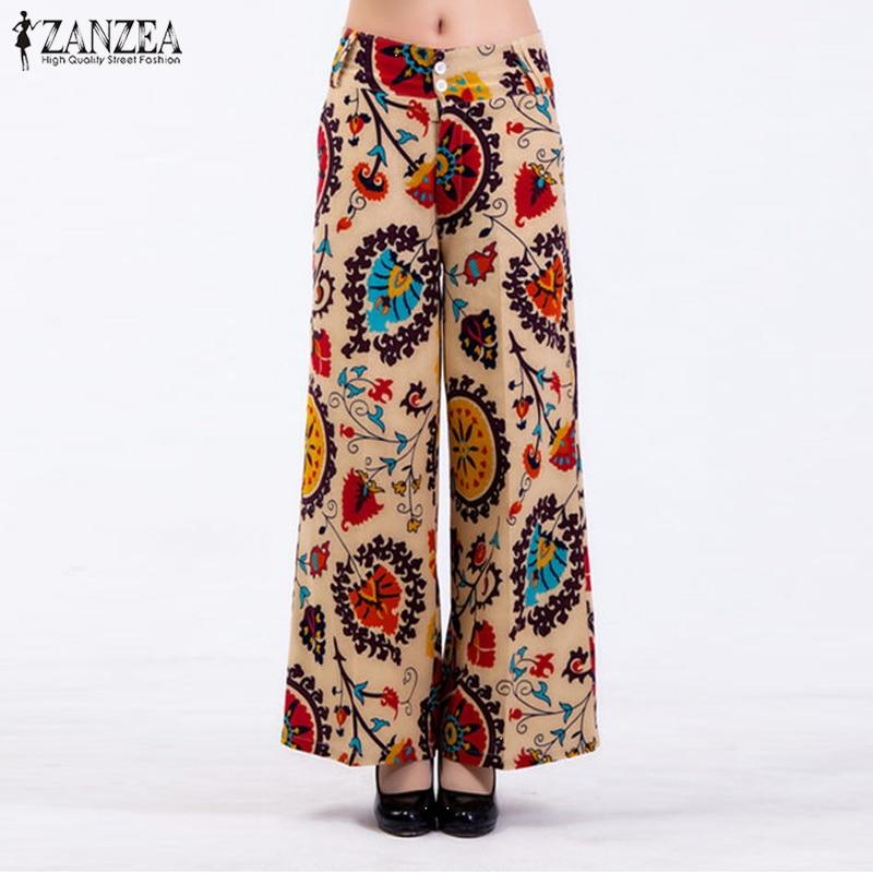 ZANZEA 2019 Summer   Wide     Leg     Pants   Women Floral Printed Slacks   Pants   Casual Vintage Straight Pantalon Cotton Linen Trousers
