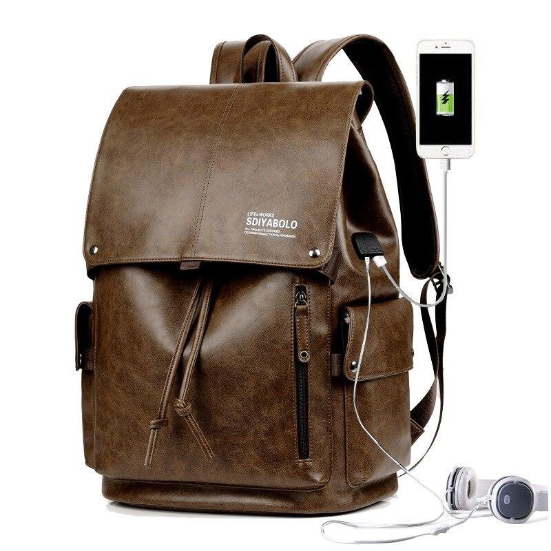 Les deux épaules homme loisirs temps sera capacité étudiant un sac ordinateur paquet tendance voyage sac à dos hommes en cuir livraison gratuite