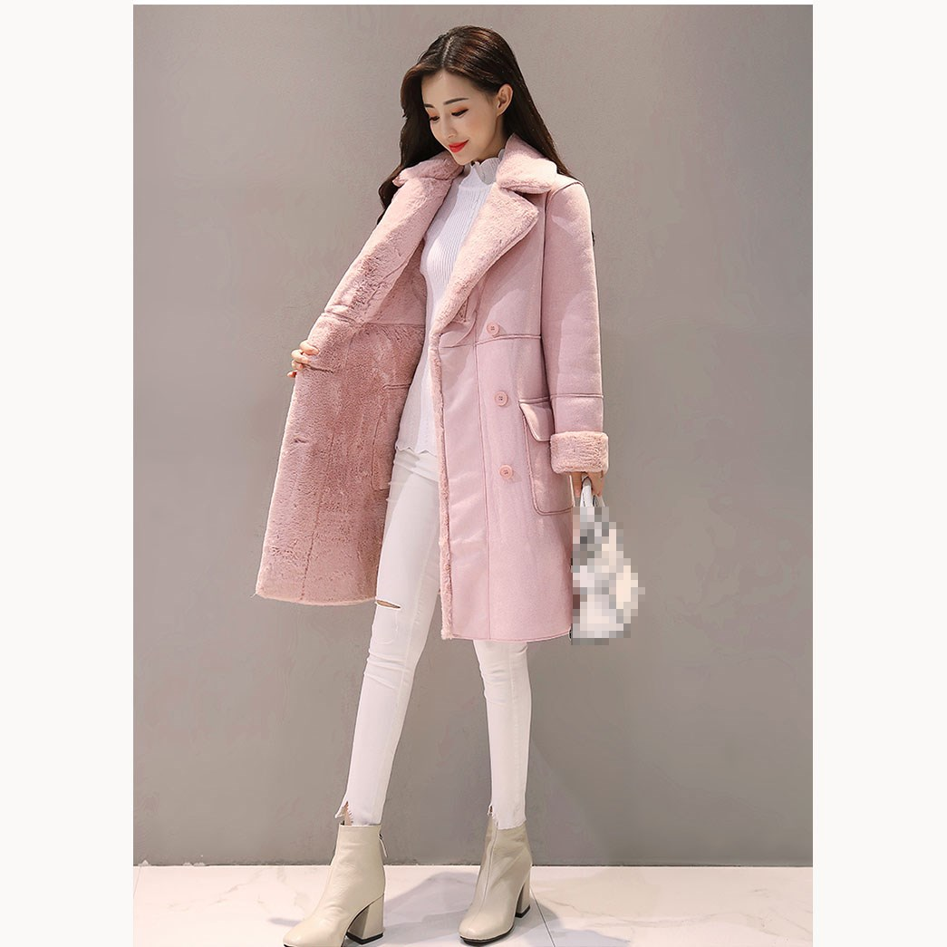 2018 Autumn Winter Women Long Faux   Suede   Coats Thick Long Sleeve Faux   Leather   Jackets Female Lambs Warm Coats