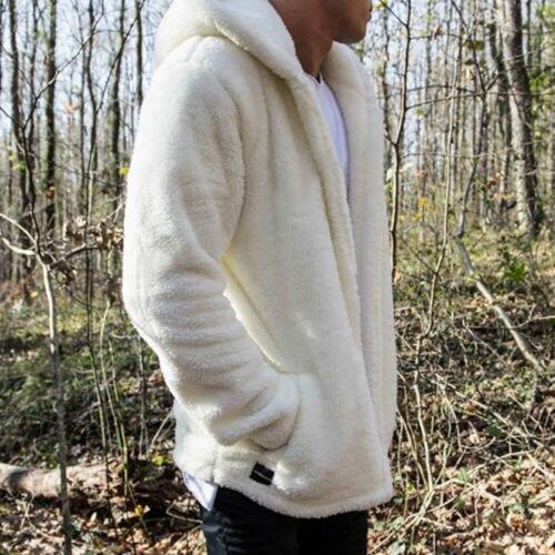 Men Fleece Teddy Bear Hoodie Coat Winter Zipper Jacket Warm Fluffy Outerwear Top