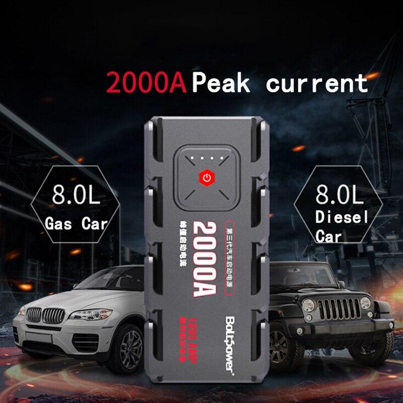 2000A Pic Voiture Jump Starter Pack Portable lampe de poche led batterie externe Voiture Bateau Auto Voitures Batterie Fournir Téléphone Puissance Pinces Pour 12 V