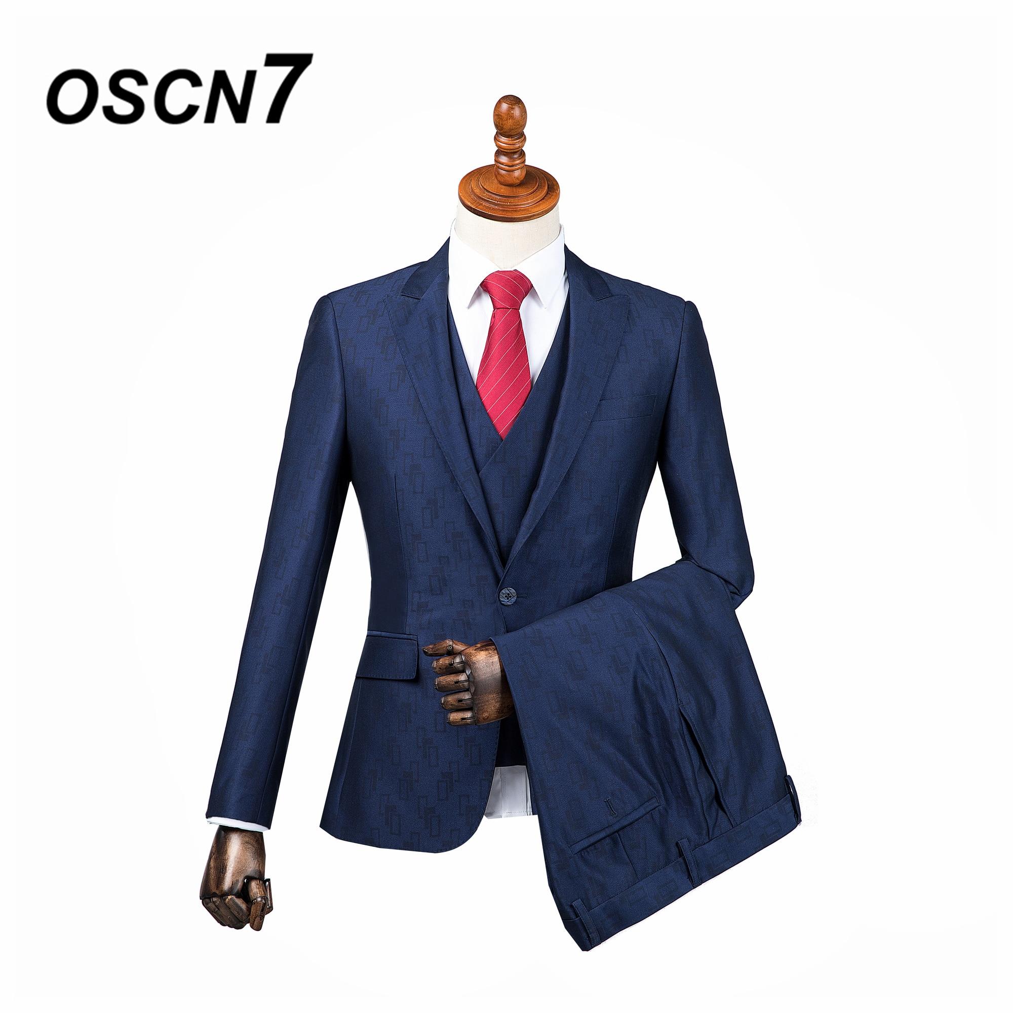 OSCN7 3 шт. Синий принт Индивидуальные костюмы Для мужчин джентльмен Пик нагрудные свадебное платье индивидуальный заказ костюм Для мужчин Мо