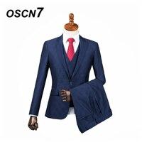 OSCN7 3PCS Blue Print Tailor Made Suits Men Gentleman peak lapel Wedding Dress Custom Made Suit Men Fashion Tuxedo DM 022