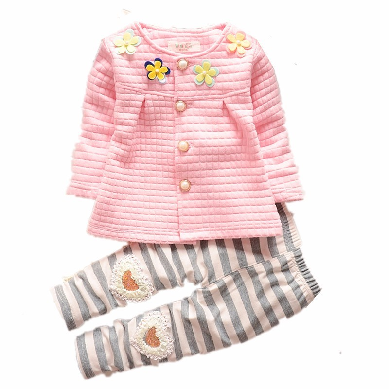 Spring <font><b>Autumn</b></font> <font><b>Baby</b></font> Grils <font><b>Clothes</b></font> Children Cotton Flower Jacket Stripe Pants 2Pcs/Sets Fashion <font><b>Newborn</b></font> Clothing Toddler Tracksuit image