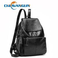 Chuwanglin Simple women leather backpack casual school bag High capacity travel bag woman Laptop Backpack mochila feminina C7709
