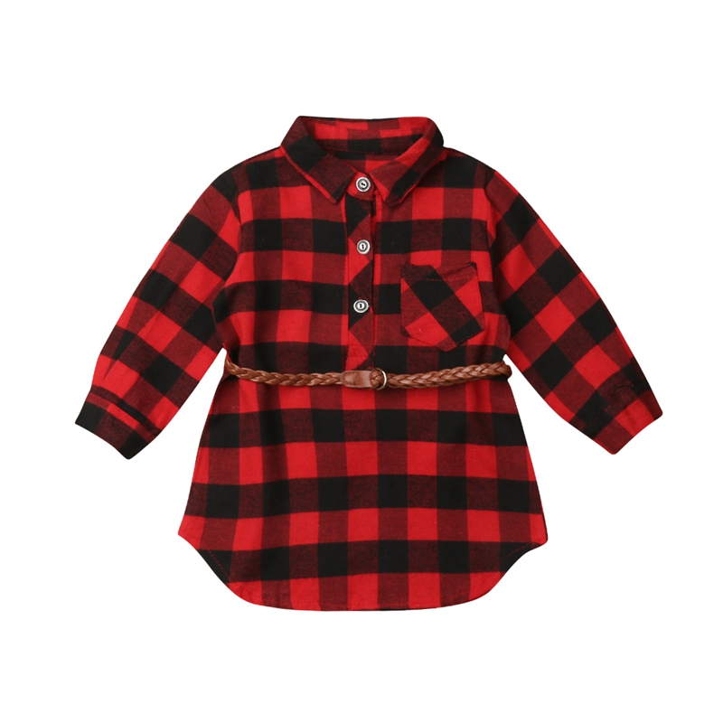 New Christmas Newborn Kids Baby Girls Plaid Cotton Soft Princess Party Dress Clothes Xmas Casual plaid
