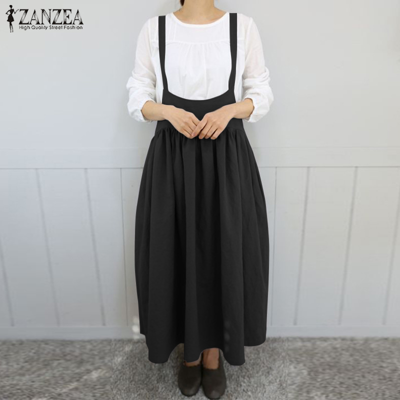 2021 ZANZEA Summer Women Strappy Solid Long Suspenders Dress Casual Cotton Linen Overalls Dress Robe Pleated Sarafans Vestido