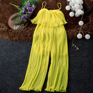 Image 1 - Good Quality Solid Chiffon Jumpsuits Women Pleated Ruffles Wide Leg Ankle Length Strapless Pants Fashion Womens Jumpsuit Pant