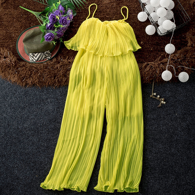 Good Quality Solid Chiffon Jumpsuits Women Pleated Ruffles Wide Leg Ankle Length Strapless Pants Fashion Womens Jumpsuit Pant