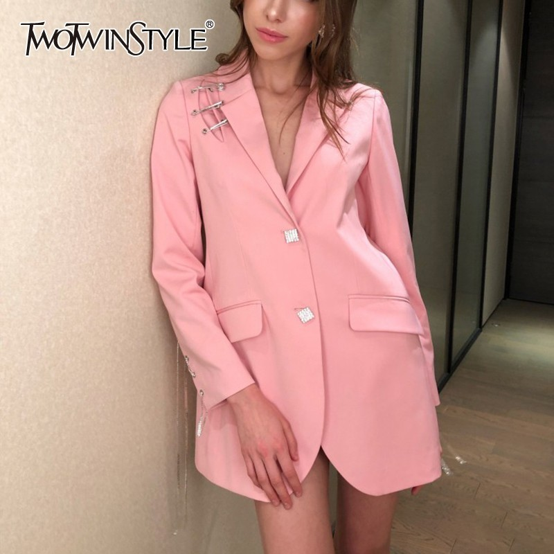 TWOTWINSTYLE Spring Diamond Tassel Patchwork Women Blazer Lapel Long Sleeve Big Size Female Clothing 2019 Fashion Casual New