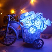2M Rose Flower LED String Lights Christmas Holiday Light for Valentine Wedding Decoration AA Battery Flower Garlands 20 LED Lamp(China)