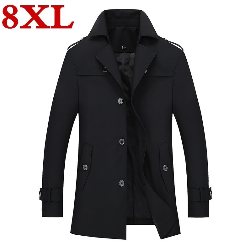 8XL plus size 2019 Spring  Mens Trench  Coat Slim  Fit Long Coats Men British Style Business Outwear High Quality Classic jacket