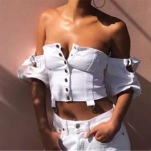 Hot Sale Women Slash Neck Single Breasted Short Blouse Button Ladies Summer White Puff Sleeve Crop Tops