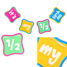 1pc 1.5m Shinny Its My Half Birthday Banner 1/2 Decorations 6 Months Old Photo Prop Boys & Girls Party