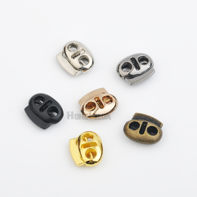 DIY 30pcs lot oval metal alloy stoppers toggle cord locks Drawstring two  hole nickle  4373e1850baa1