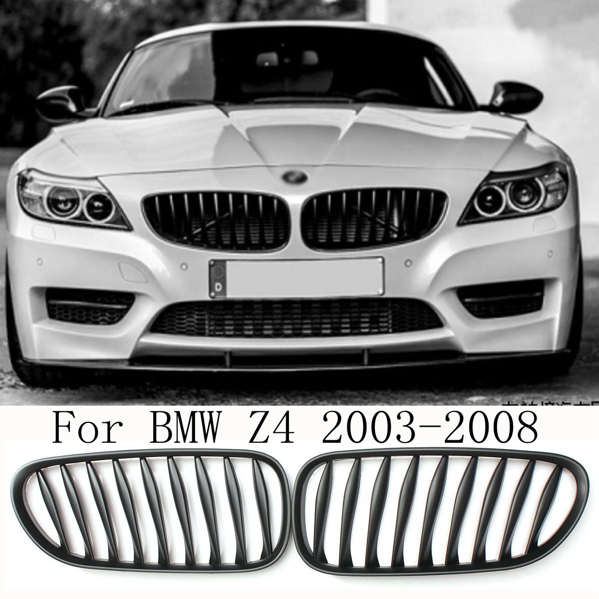 Auto Racing Grills Pair Matte Black Kidney Grille for BMW Z4 2003 2004 2005 2006 2007