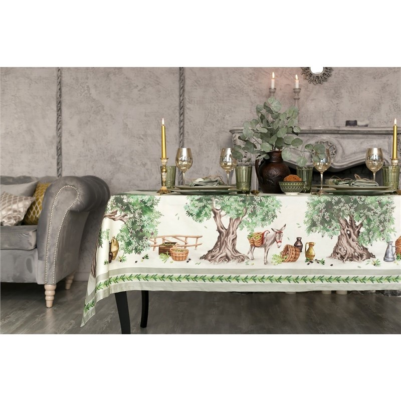 Set table Ethel Olivia GRADE 2, table cloth 220х150 cm, салф. 40х40 см-12шт, 100% CHL 4136540 fragment pattern table cloth