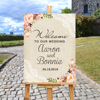 Floral Wedding Welcome Sign,Welcome To Our Wedding Wood Entrance Welcome Sign,Boho Digital Wedding Reception Sign Bridal Shower