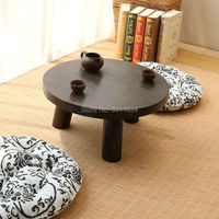 Japanese Antique Small Round Table 40x22cm Paulownia Wood Traditional Asian Furniture Living Room Low Floor Coffee Table Wooden