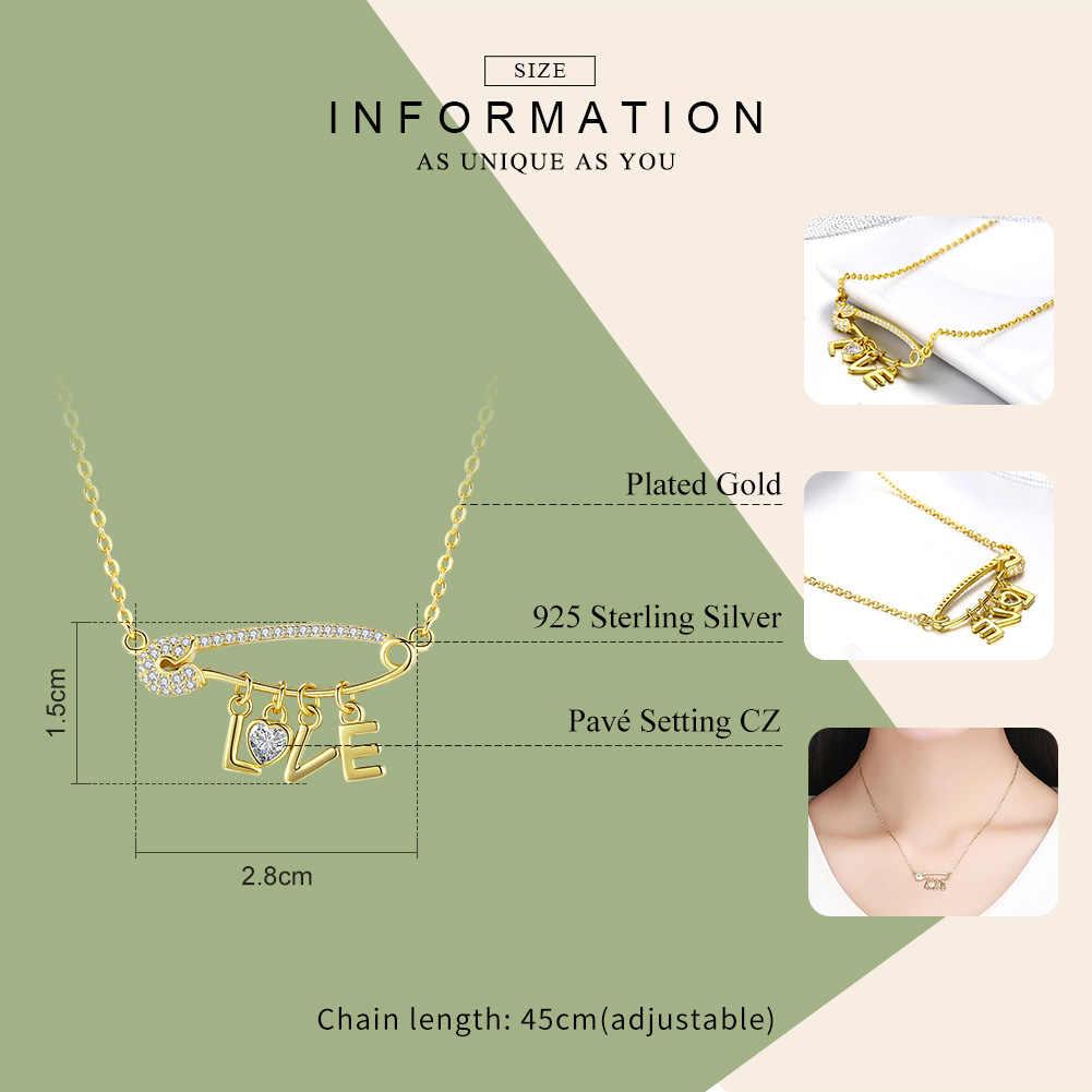 WOSTU 100% стерлингового серебра 925 пробы любовь письмо золотой цвет кулон ожерелья Циркон Длинная цепочка для женщин Свадебная вечеринка ювелирные изделия CQN324