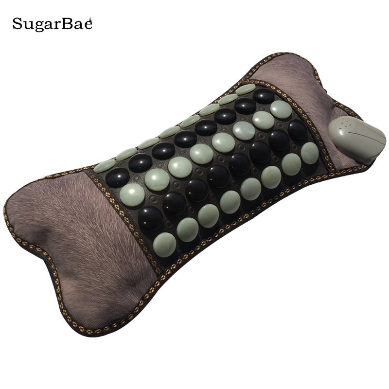 RELAX Heating Jade&Tourmaline Mixed Stone Electric Therapy Neck Pillow High Quality Made In China Free Shipping 2018 pop relax electric vibrator jade massager light heating therapy natural jade stone body relax handheld massage device massager