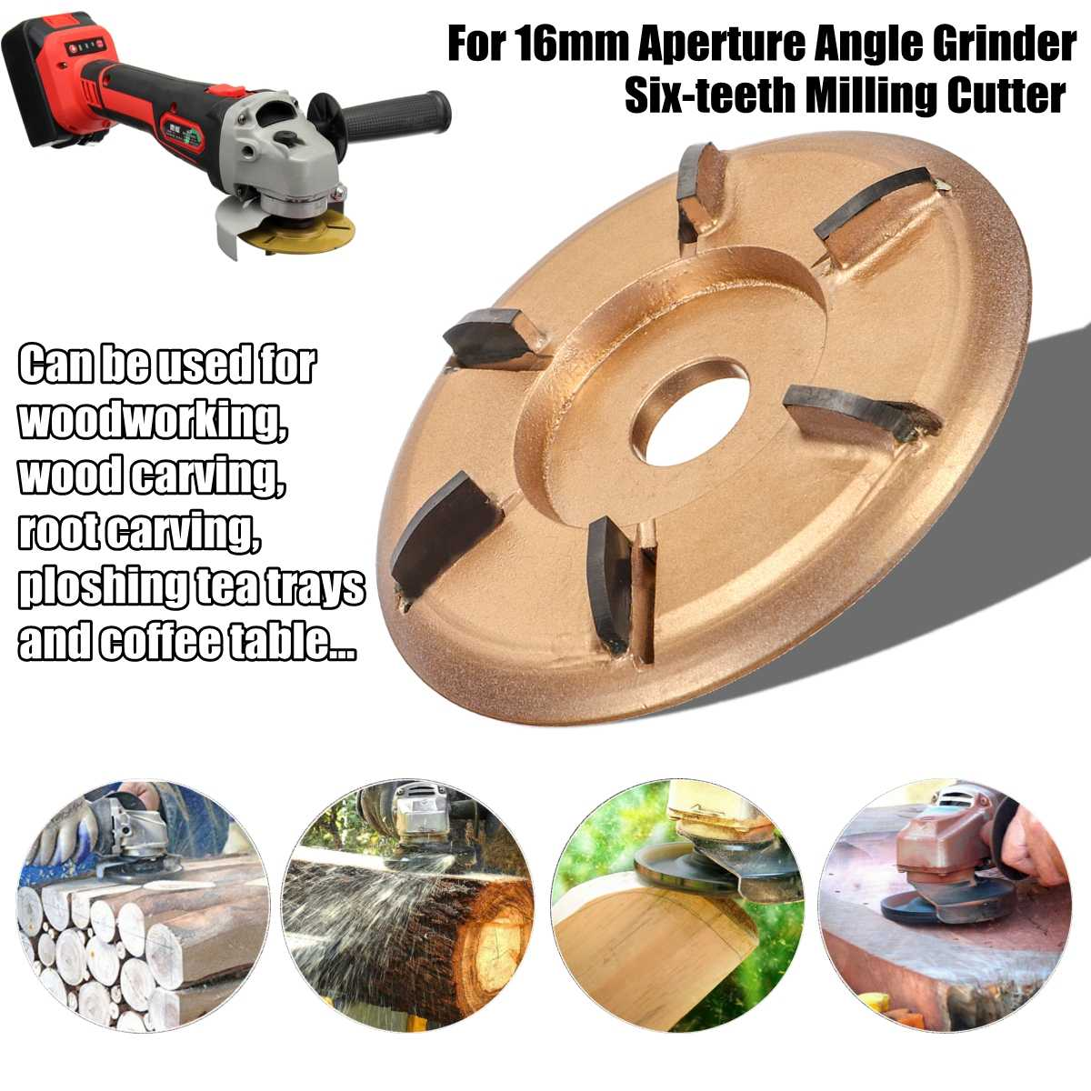 90mm H16 Digging Grinder Wood Turbo Plane Woodworking Tools Attachment Milling Cutter Tool For 16mm Aperture Angle Grinder|Grinders| |  - title=