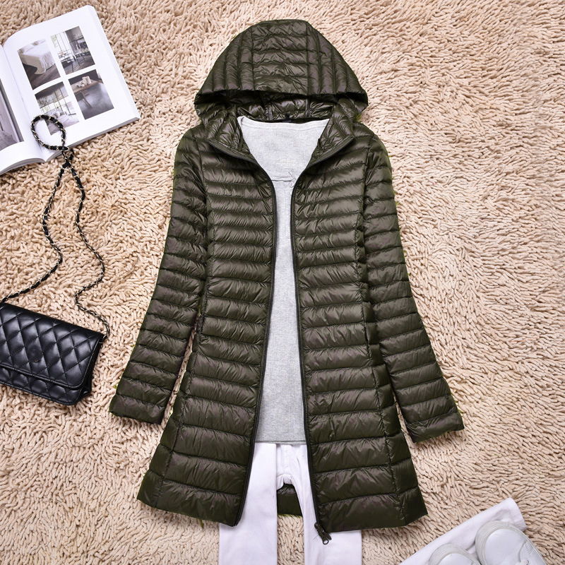 Womens Lightweight Warm Duck   Down     Coat   Ladies Long Parka Puffer Jacket Plus Size