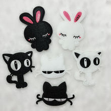 PGY Children Jackets Coats Cartoon cute rabbit Patches Decoration Cloth Ironing Animal Girl Patches Accessories Free Shipping(China)