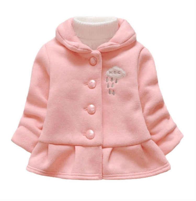 Куртка с капюшоном для младенцев; куртка; осенне-зимнее пальто для малышей; двубортная куртка с длинными рукавами и бантом для маленьких девочек