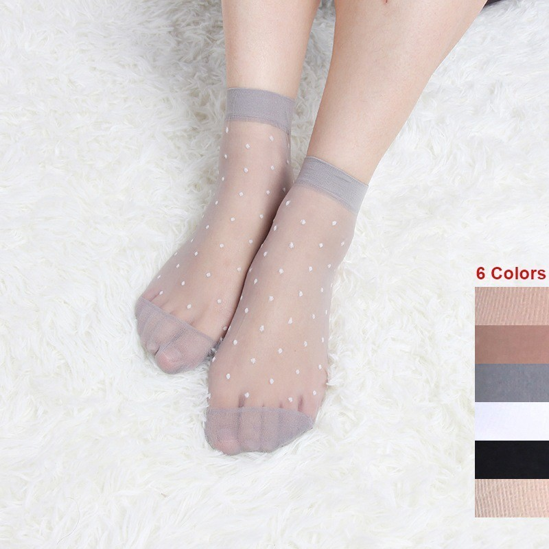 Dot Women Silk Socks 10 Pairs Ultra Thin Transparent Crystal Silk Socks Skin Color Ladies Super Sheer Short Ankle Socks