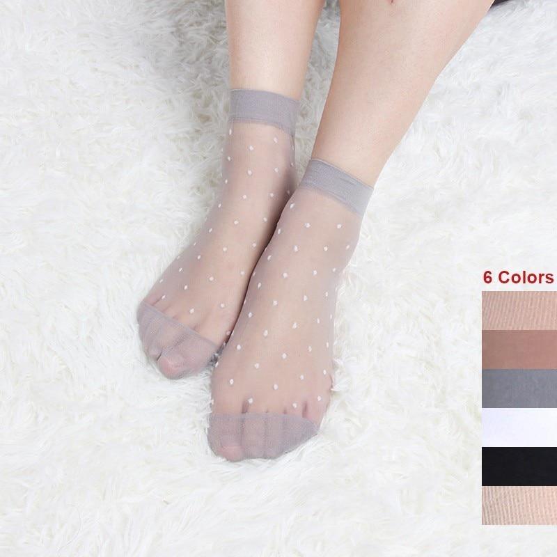 Dot Women Silk   Socks   10 Pairs Ultra Thin Transparent Crystal Silk   Socks   Skin Color Ladies Super Sheer Short Ankle   Socks