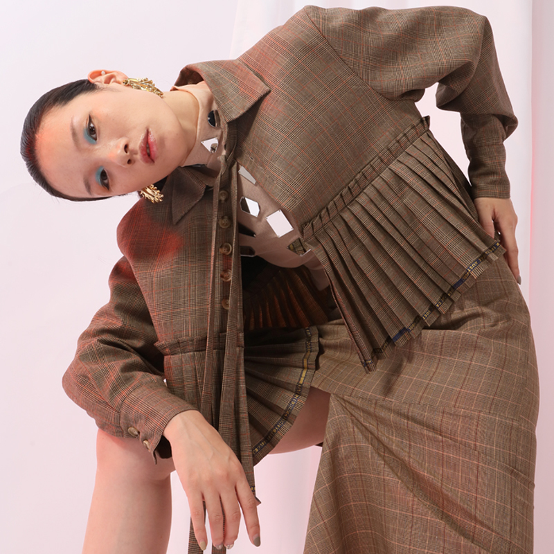 Camel Veste Bandage Point Nouveau Mode 2019 Revers eam Ji331 Manches Femmes Manteau Marée Printemps Lâche Plaid Arc Plissée Longues De nW0qYWw6xf