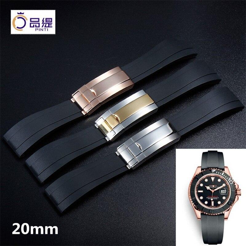 Top grade 20mm Silicone Rubber Watchband Luxury Black Strap OysterLock Bracelet for Deepsea Yacht Master Daytona