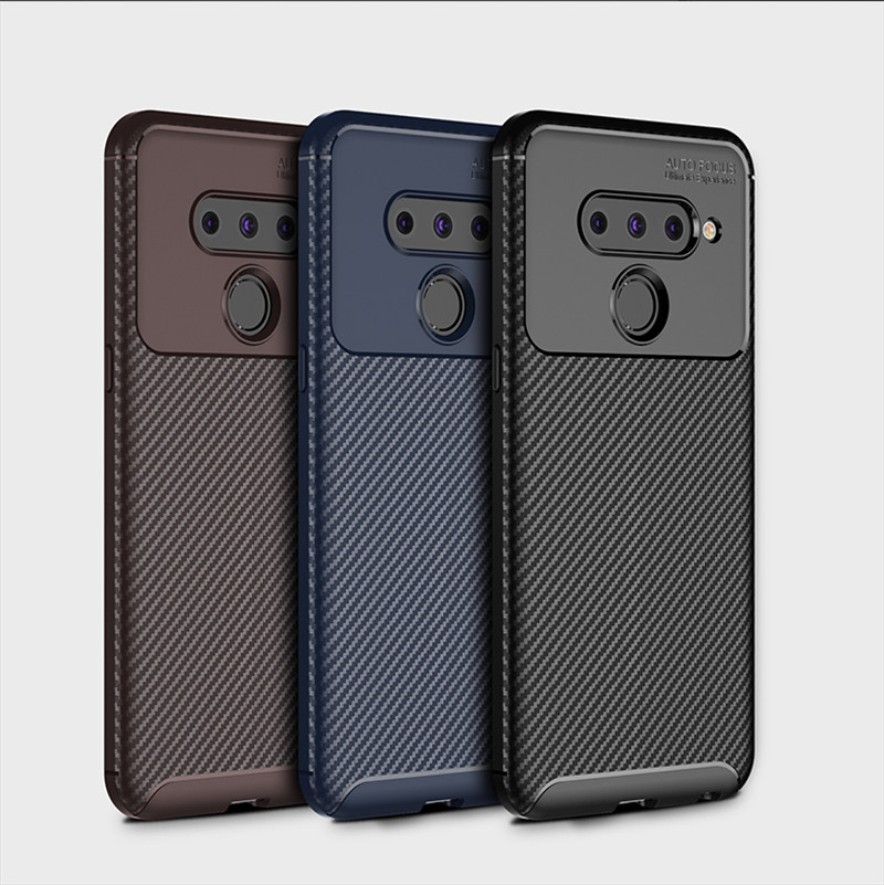 Carbon Fiber Case for <font><b>LG</b></font> V 50 <font><b>ThinQ</b></font> Soft Silicon TPU Shockproof 360 Full Protection Cover for <font><b>LG</b></font> <font><b>V50</b></font> Thin Q LGV50 <font><b>ThinQ</b></font> Case image
