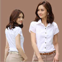 Women New OL White Shirt Female Short Sleeved Workwear Button Up Blouse for Office Lady Plus Size 4XL Tops