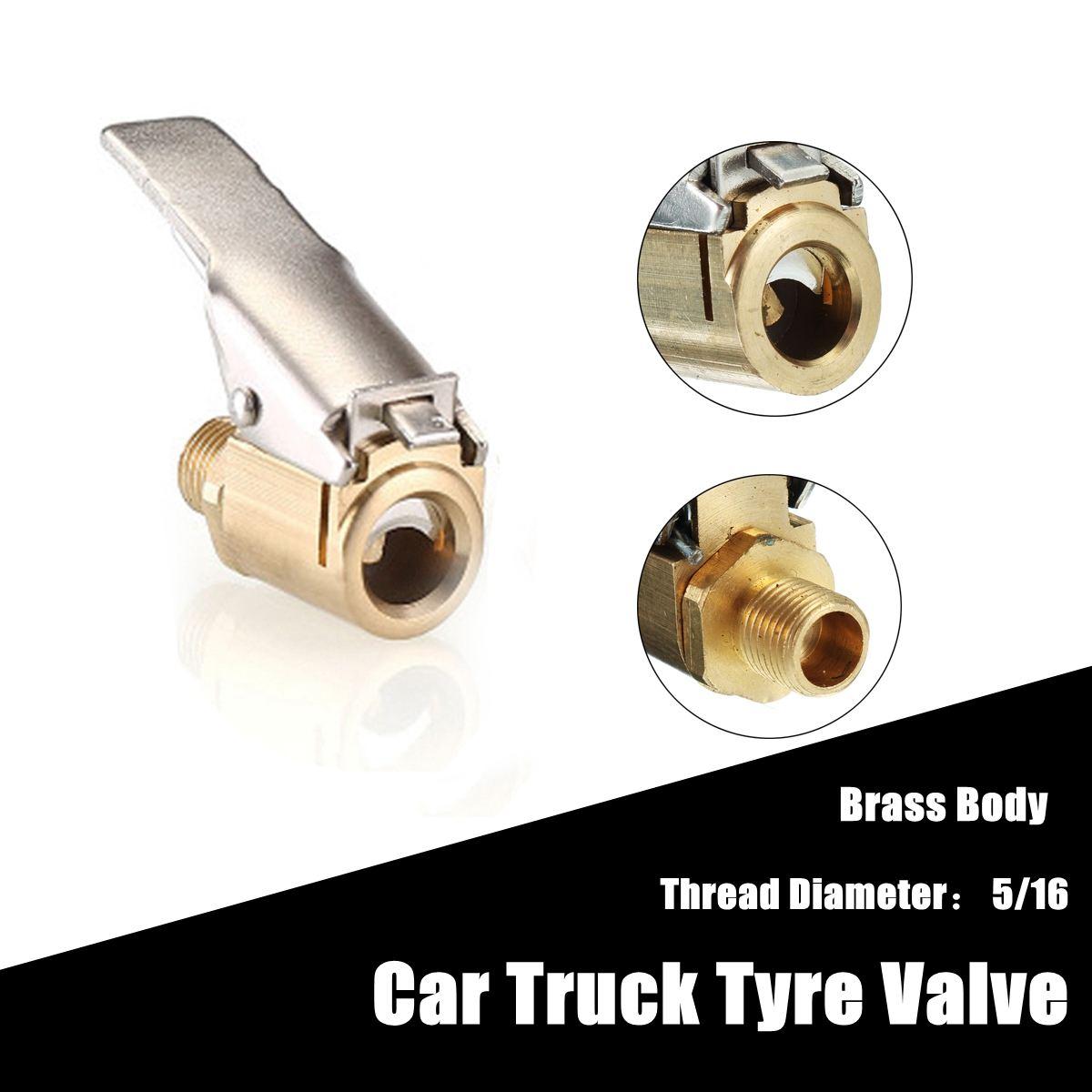 Straight Brass Car Tire Inflator Valve Stem Connector Air Chuck Lock On Clip 1*