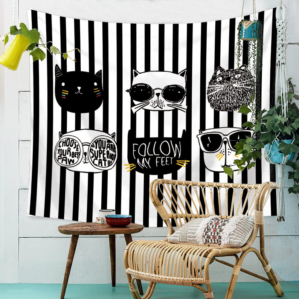 Black And White Cute Funny Modern Cat Printed Tapestry Wall Hanging Large Polyester Wall Carpet Blanket Mat Tapestries Dorm
